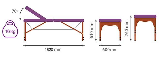Medida camilla plegable CP-250