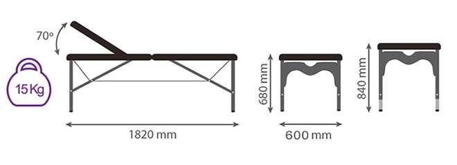 medidas camilla plegable de aluminio CP-252