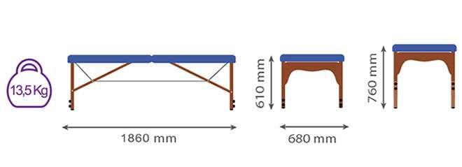 Medidas camilla plegable CP255
