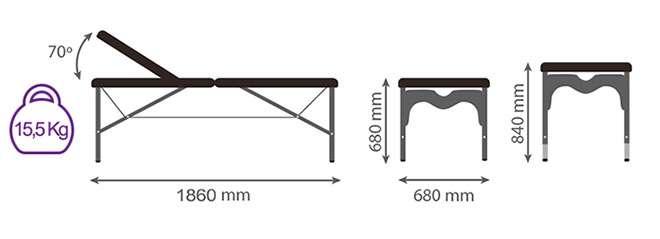 Medidas camilla plegable articulada CP-256