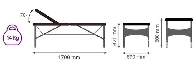 Medidas camilla plegable articulada CP-258