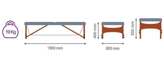 Medida camilla plegable CP-260 Kironoa