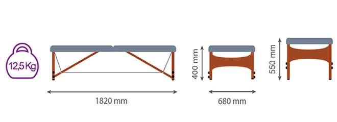 Medidas camilla plegable CP-262