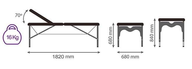 Medidas camilla plegable CP-264