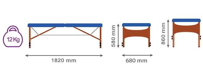 Medida camilla plegable CP-265