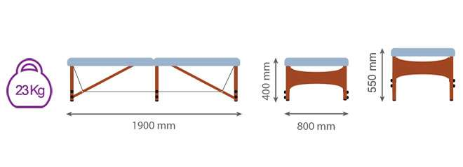 Dimensiones camilla plegable para Feldenkrais CP-269