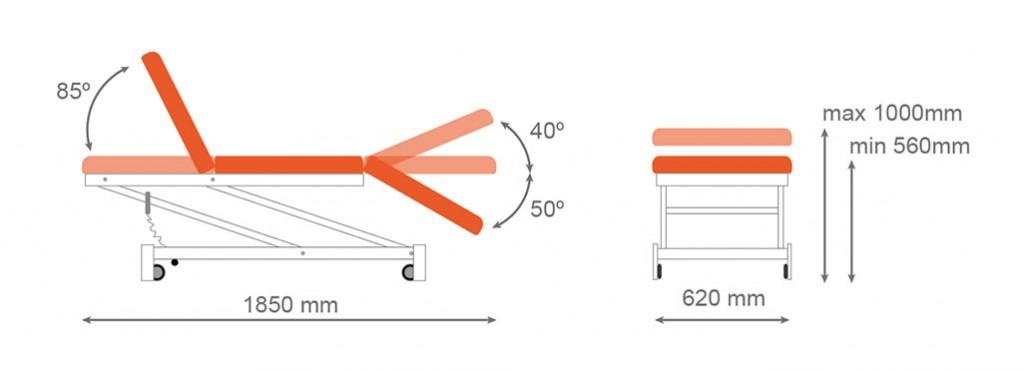 Medidas camilla eléctrica CE-800 - Kironoa