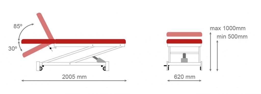 Table électrique en deux parties avec dossier inclinable CE-801