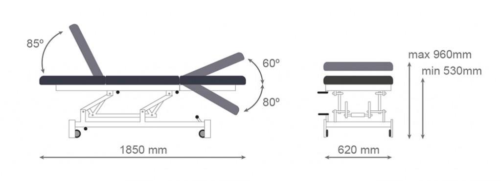 Medidas camilla eléctrica CE-802 - Kironoa