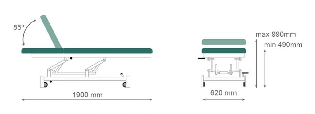Medidas camilla eléctrica CE-804 - Kironoa
