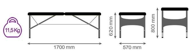 Medidas camilla plegable articulada CP-259