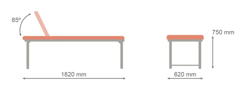 Medidas camilla fija CF-679 - Kironoa