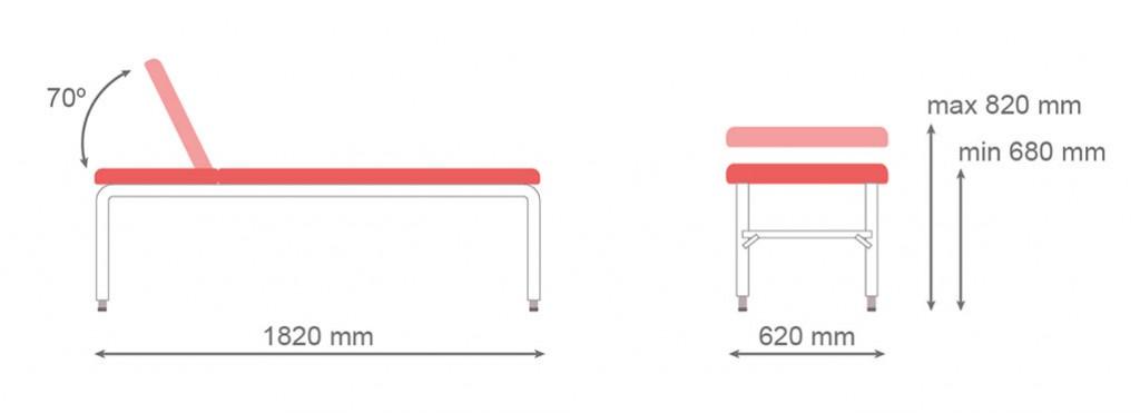 Medidas camilla fija CF-680 - Kironoa