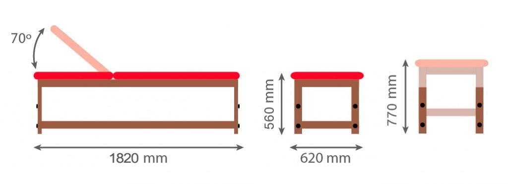 Medidas camilla fija de madera CF-682