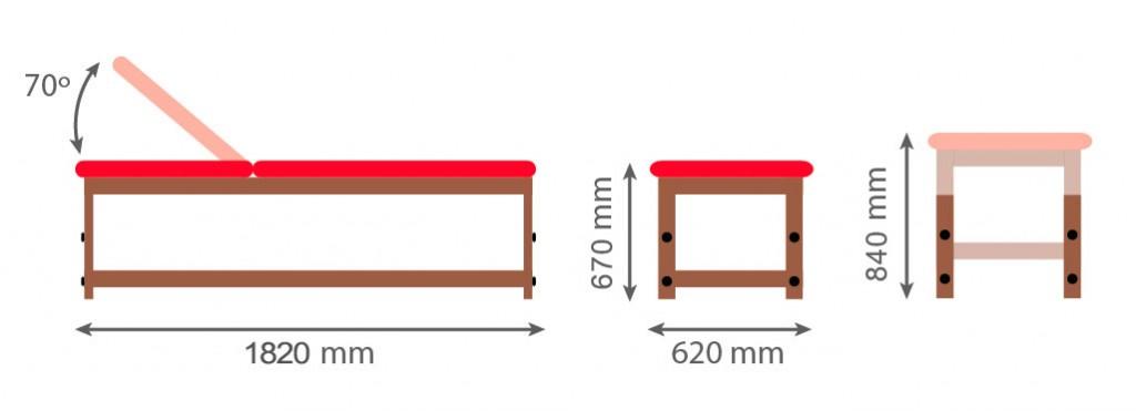 Medidas camilla fija de madera CF-683
