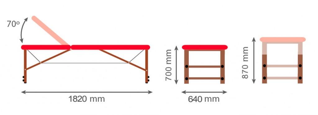 Medidas camilla fija de madera CF-684