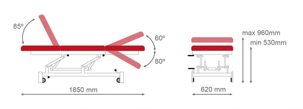 Medidas camilla hidráulica CH-902 - Kironoa