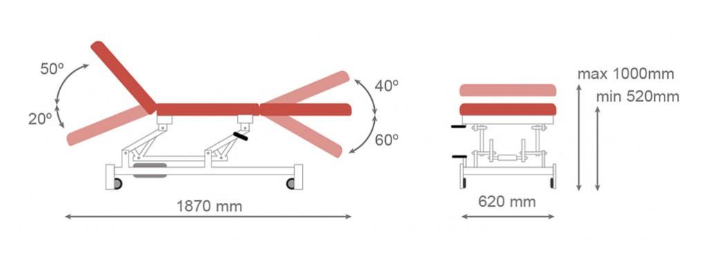 Medidas camilla hidráulica CH-903 - Kironoa