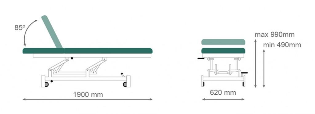 Medidas camilla hidráulica CH-904 - Kironoa