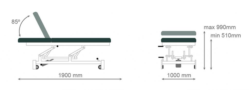 Medidas camilla hidráulica CH-906 - Kironoa