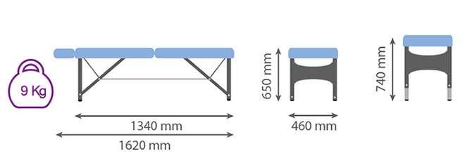 Medida camilla plegable CP-263