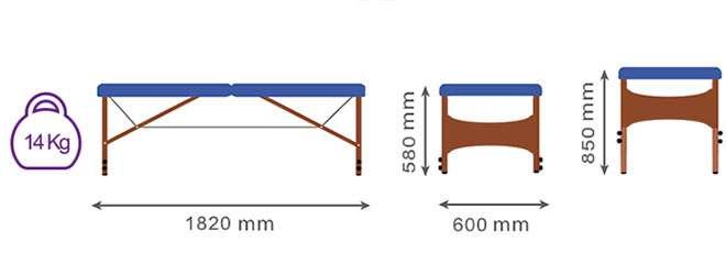 Medidas camilla plegable CP-267