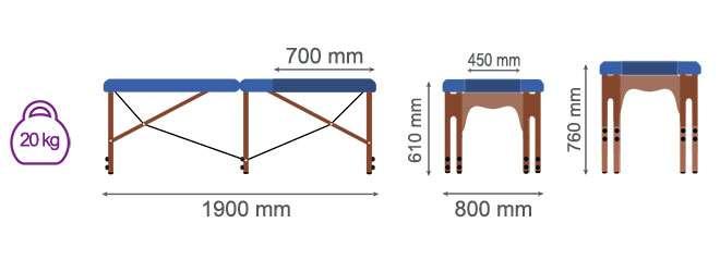 Dimensiones camilla plegable CP-270 Kironoa