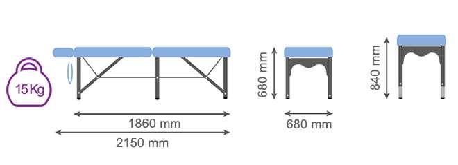 Dimensiones camilla plegable de aluminio CP-266