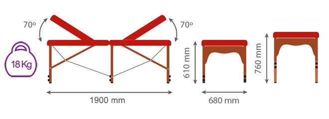 Dimensiones camilla plegable con doble respaldo CP-271
