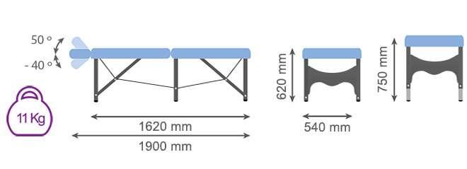 Medida camilla plegable CP-268