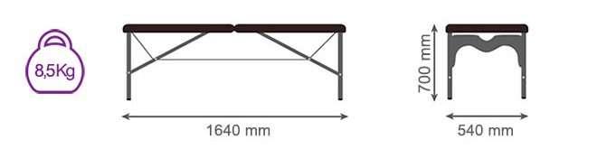 Medidas camilla plegable de aluminio CP-273