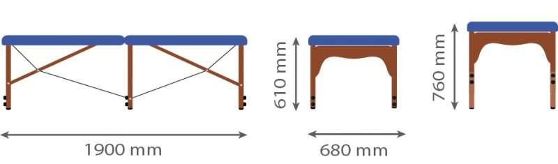 Dimensiones camilla plegable de madera P32 - noanoe