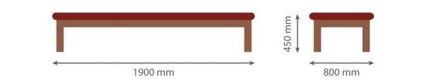 Medidas Camilla de madera fija M41 - noanoe