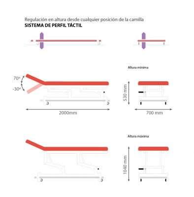 Dimensiones Camilla eléctrica E47 dos cuerpos Noa & Noe