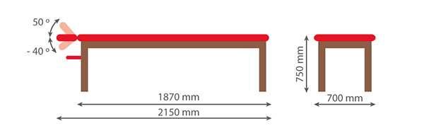 Dimensiones Camilla fija madera con cabezal basculante 14M50