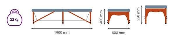 Dimensiones Camilla plegable de madera para FELDENKRAIS 14P38 mango - Noa & Noe