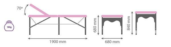 Dimensiones Camilla plegable de aluminio 14P27 - Noa & Noe