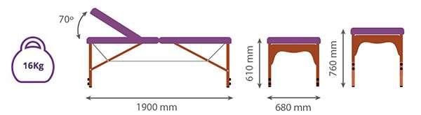 Dimensiones Camilla plegable de madera p33 articulada noa & noe