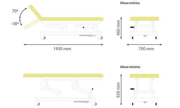 Dimensiones Camilla hidráulica de dos cuerpos 14H45 - Noa & Noe