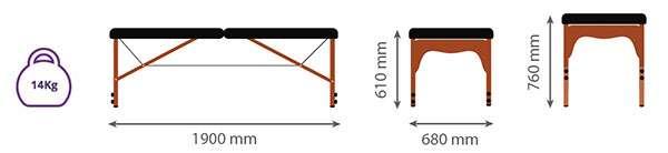 Dimensiones Camilla plegable de madera 14P34 - Noa & Noe