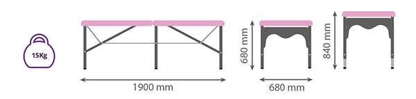 Dimensiones camilla plegable de aluminio con seis apoyos 14P28 - Noa & Noe