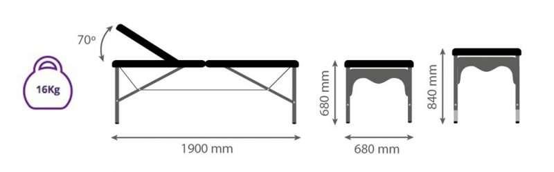 Dimensiones Camilla plegable de aluminio-articulada-P29 - Noa & Noe