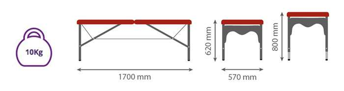 Dimensiones Camilla plegable de aluminio ligera P35 - Noa & Noe