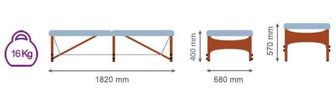 Dimensiones Camilla plegable Shiatsu con pata central CP-277