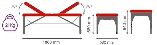 DimensionesCamilla plegable de aluminio con doble articulación CP-279