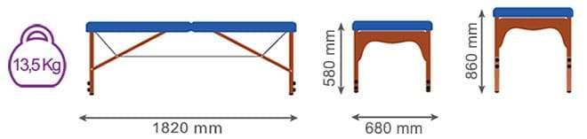 Medidas camilla plegable de madera CP-278