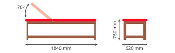 Dimensiones Camilla fija de madera articulada CF-685