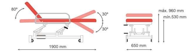 Dimensiones camilla hidráulica CH-907