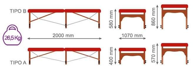 dimensiones camilla plegable Bobath CP-276-a-b