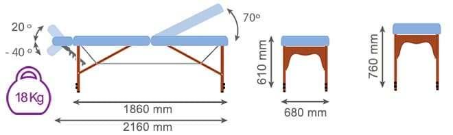 Medidas camilla plegable madera CP-240